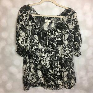 Ann Taylor Loft Black/White Floral Blouse Size XL